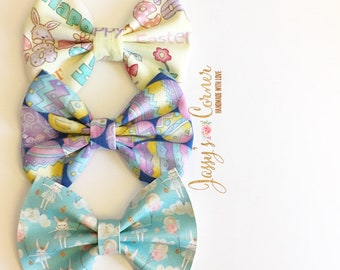 Easter Hairbows | Easter Hairclips | Easter Headband | Easter Bow | Easter Clip | Faux Leather Bow | Fabric Bow | Baby Headband
