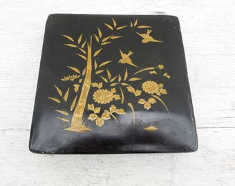 CHINESE Papier Mache Black Lacquer Box with Gold Painting on Lid