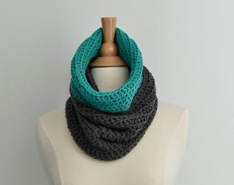 Gray Crochet Cowl, Teal Scarf, Color Block Scarf, Cowl Scarf, Womens Scarves,Winter Scarf, Accessory for Women, Gift for Women, Gift For Her