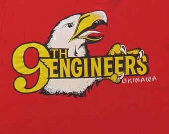 80's Vintage T Shirt 9th Engineers Okinawa Japan Military Marines Battalion