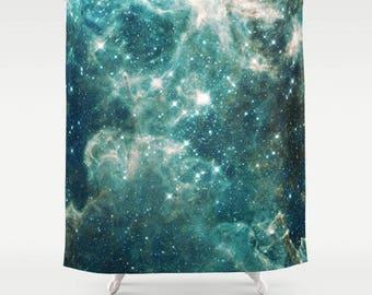 Galaxy Stars Shower Curtain  - Teal Sky - night sky teal milky way stars, galaxy, solar system, colorful, bathroom decor, home