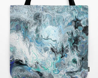 Marbled design Tote Bag, blue and black modern, marbled paint, abstract modern tote, gym bag, grocery tote, beach bag, pool tote