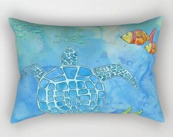 Sea Turtle Pillow Case - blue watercolor ocean undersea,  fish,   bedroom decor, coastal, reef