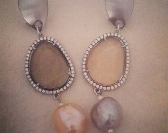 "Earrings ""Peach and Grey"""