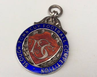 Slough Town Cup Football Competition Antique Sterling Silver Fob Medal - Hallmarked Silver 1951