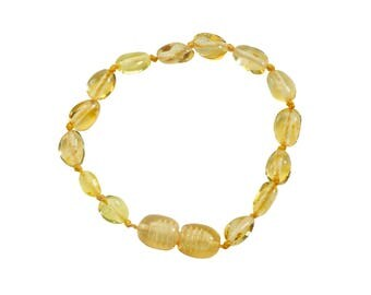 Genuine Baltic Amber Teething Bracelet (ATBP-Lemon)