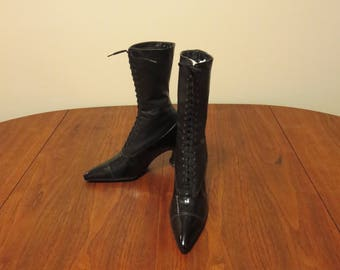 Vintage 1910s 1920s black leather high top shoes original cotton laces lining Cuban heels pointy toes two tone (121017))