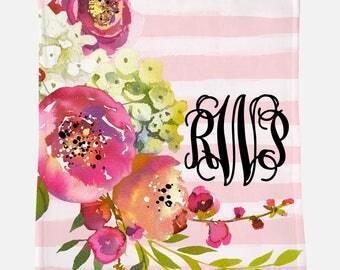 Monogrammed Blanket | Large Blush Pink Floral | Personalized Blanket | Monogrammed Gift