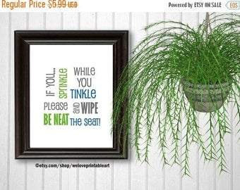 ON SALE Bathroom Art, Kids Bathroom Decor, Be Neat and Wipe the Seat, Green and Blue, Accessories