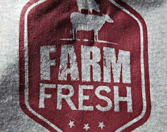 Farm Fresh Cotton Long Sleeve baby onesies by Chicks Dig Hicks TM, farm animals, cow, pig, chicken, burgundy and gray