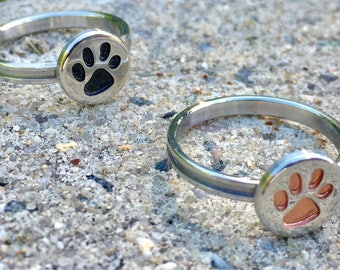 Paw Print Rings (Flat-Top Style)