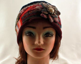 recycled up cycled  felted wool patchwork  hat flapper slouch hat