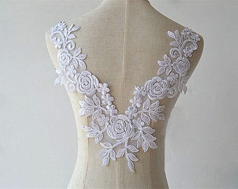 1pc Super Luxury Ivory Lace Applique Exquisite Lace Applique For Wedding Dress Grown Bridal Veil Bodice