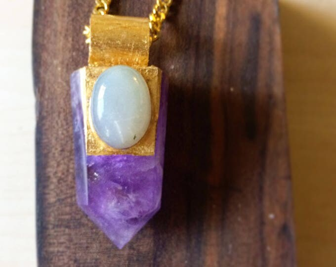 Amethyst Wand with Silky Moonstone Necklace