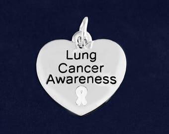 10 Heart Lung Cancer Awareness Charms in a Bag (10 Charms) (C-129-15LC)