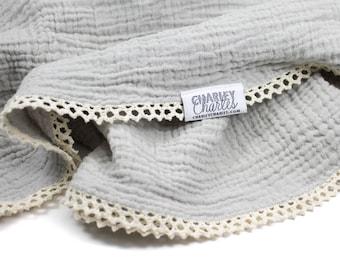 Cute Swaddle Blanket / Light Grey Swaddle Blanket / Gauze Swaddle  / Charcoal Blanket / Newborn Blanket / Newborn Baby Blanket
