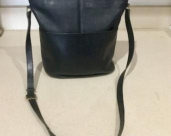 Vintage Soft Leather Black Cross Body Coach Bag