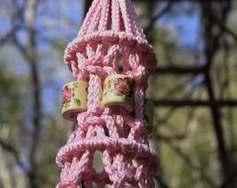 Pink Macrame Plant Hanger with Large Ceramic Beads