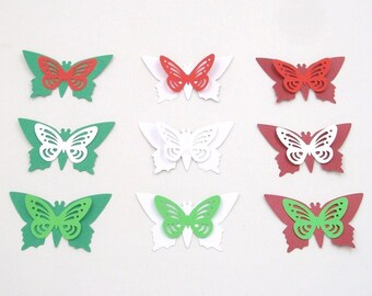 12 Pcs Clip on Butterfly,Red Christmas Ornament,Wreath decor decorations,Red Fake Artificial Butterfly,Home Party Tree Garden Plant decor