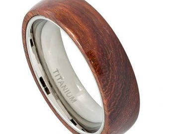 Domed Titanium Ring with Hawaiian Koa Wood Inlay – 6mm