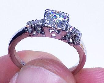 14k White Gold Round Cut Moissanite and Round Cut Diamond Engagement Ring Double Halo, Bridal, Wedding Split Shank 0.72ctw