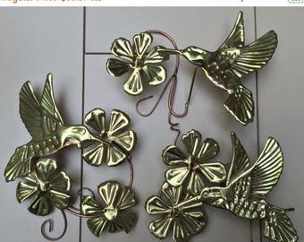 CIJ Hummingbird Wall Art Metal Blooms Set of 3 1960s-1970s Retro 3 D HOMCO