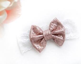 Mauve Sparkle Bow on White Lace