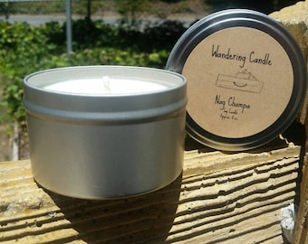 Nag Champa Soy Candle Tin 8 Oz - Hand Poured Candle - Earthy Candle - Boho Candle