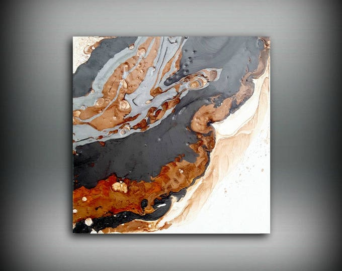 "Original on Canvas, Small Artwork, Small Abstract Painting, Copper and Black, Wall Decor, 10x10"" Gift for Him, Gift for Boss, Gift for Dad"