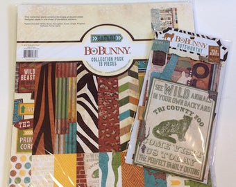 """Bo Bunny """"Safari """"  12""""x 12""""Collection Pack & Noteworthy Package"""
