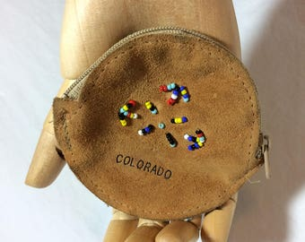 Vintage 1970s  Souvenir Beaded Coin Purse