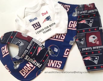 Custom House Divided Bodysuit ( New England Patriots - New York Giants) I Cheer For Both Teams and Pants or Shorts Bib 3pc Set