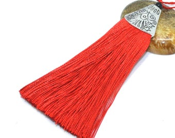 Large tassel 08cm siam red polyester with Silver Cup