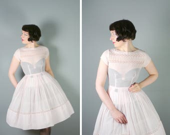 50s SHEER dress in the palest PASTEL pink with lace trims - full skirt New Look / Mid Century delicate dress - S / uk8