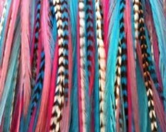 """6""""-11"""" Gorgeous Pink, Turquoise, Blue, White, Grizzly 5 Feathers"""