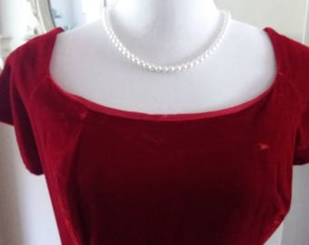 Lush Ruby Red Downton Titanic Ruby  Velvet Dress Evening Gown Empire Style Simply Gorgeous--Costume Grade M