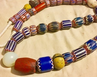 Africa old trade bedads Venetian mix large old 6&7 kayer chevron antique beads