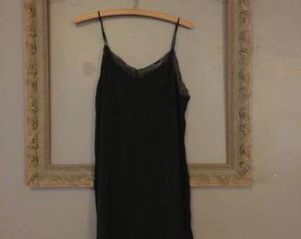 black lace trim slip dress