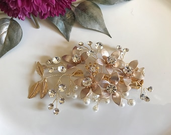 Bridal Hair Clip, Bridal Headpiece Rose Gold Headpiece