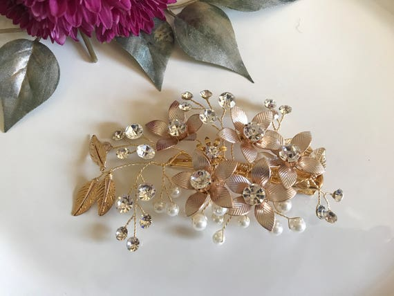Bridal Hair Clip, Bridal Headpiece Rose Gold Headpiece