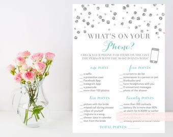 What's on your phone? Silver glitter confetti printable shower game, turquoise blue and silver, phone shower game, INSTANT DOWNLOAD 010