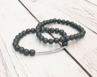 Stacking Bracelet, Gray Hematite, Women's Bead Bracelet, Grey Beads Bracelet, 6mm Hematite Bracelet, Gemstone Bracelet, Bracelet Stack