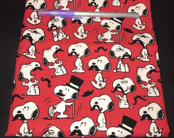 Snoopy with Moustache Pencil Case, Coin Purse, Wristlet, Cosmetic Bag