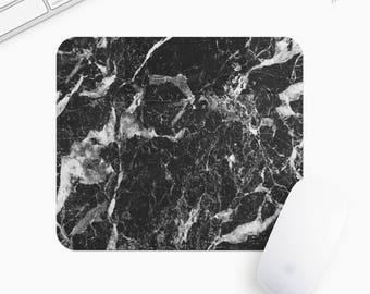 Marble Mouse Pad, Black Marble Mousepad, Rectangle or Round, Gifts for Women, Gift mp0001