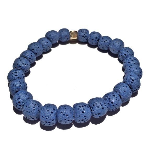 Deep Blue Raw Lava Stone Oil Diffuser Beaded Charm Bracelet, Aroma Therapy, Custom, Mala, Yoga, Meditation, Unisex, Men, Women