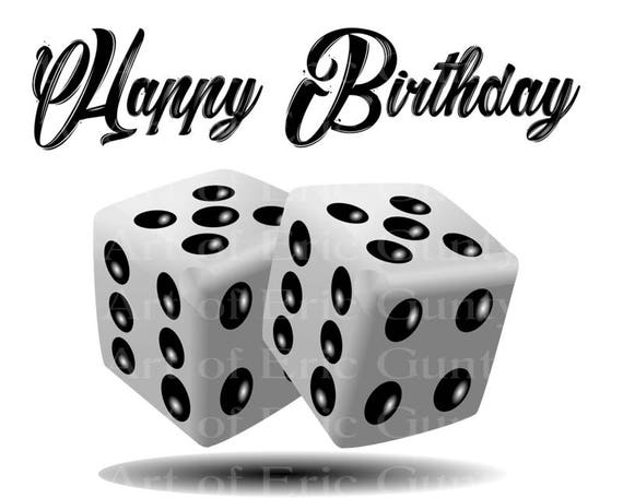 Casino Las Vegas White Dice Happy Birthday - Edible Cake and Cupcake Topper For Birthday's and Parties! - D22908