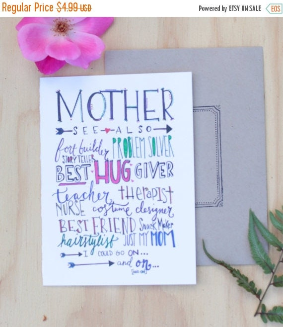 ON SALE Sweet Mother's Day card, celebrate your mother, hand lettered, colorful, not just my mother also my best friend, mother of the bride