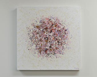 Original Abstract Painting on Canvas by Lisa Carney PETAL BURST 17 - Industrial Art, Urban Decor, Modern Abstract, Pink, Mauve, White, Ochre