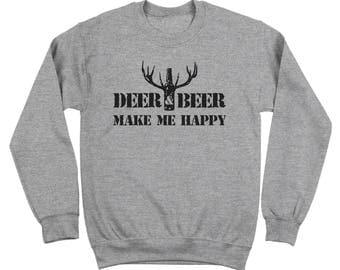 Deer And Beer Make Me Happy Funny Hunting Drinking Crewneck Sweatshirt DT2193
