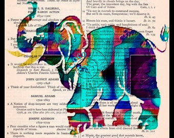Elephant Negative Abstract Colors Art Beautifully Upcycled Vintage Dictionary Page Book Art Print, Variety of Colors